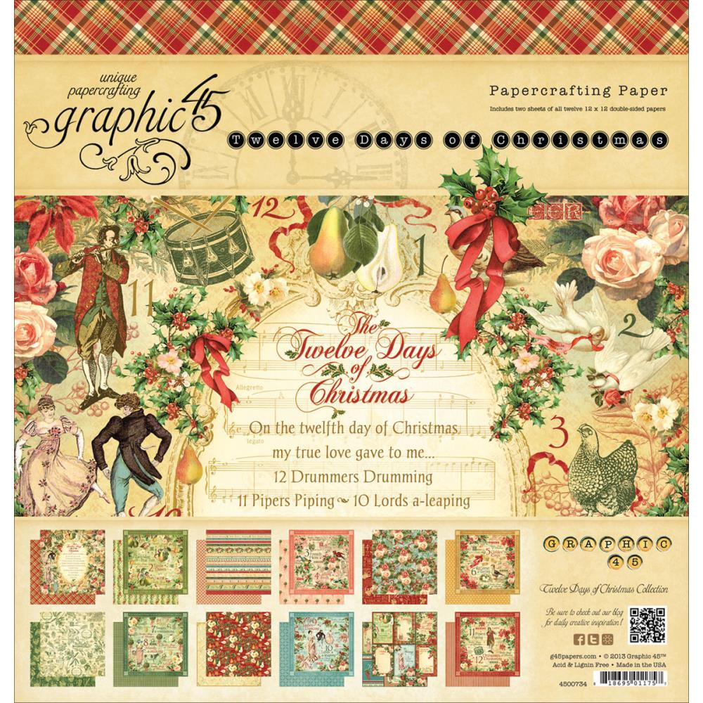 "Graphic 45 12 Days of Christmas Paper Pad 12""x12"""