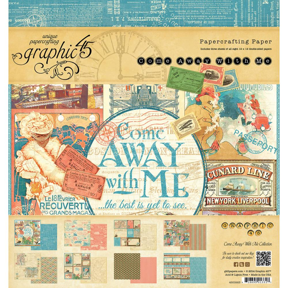 "Graphic 45 Come Away With Me Double-Sided Paper Pad 8""X8"""