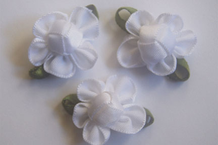Satin Ribbon Flower White with leaves 7/8""