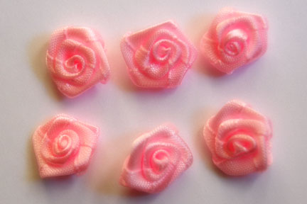 Pink Satin Ribbon Flower Rose 5/8""