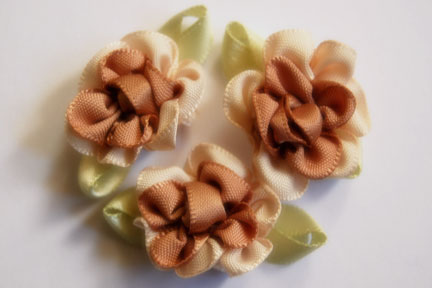 Satin Ribbon Flower Two Color with leaves 1""