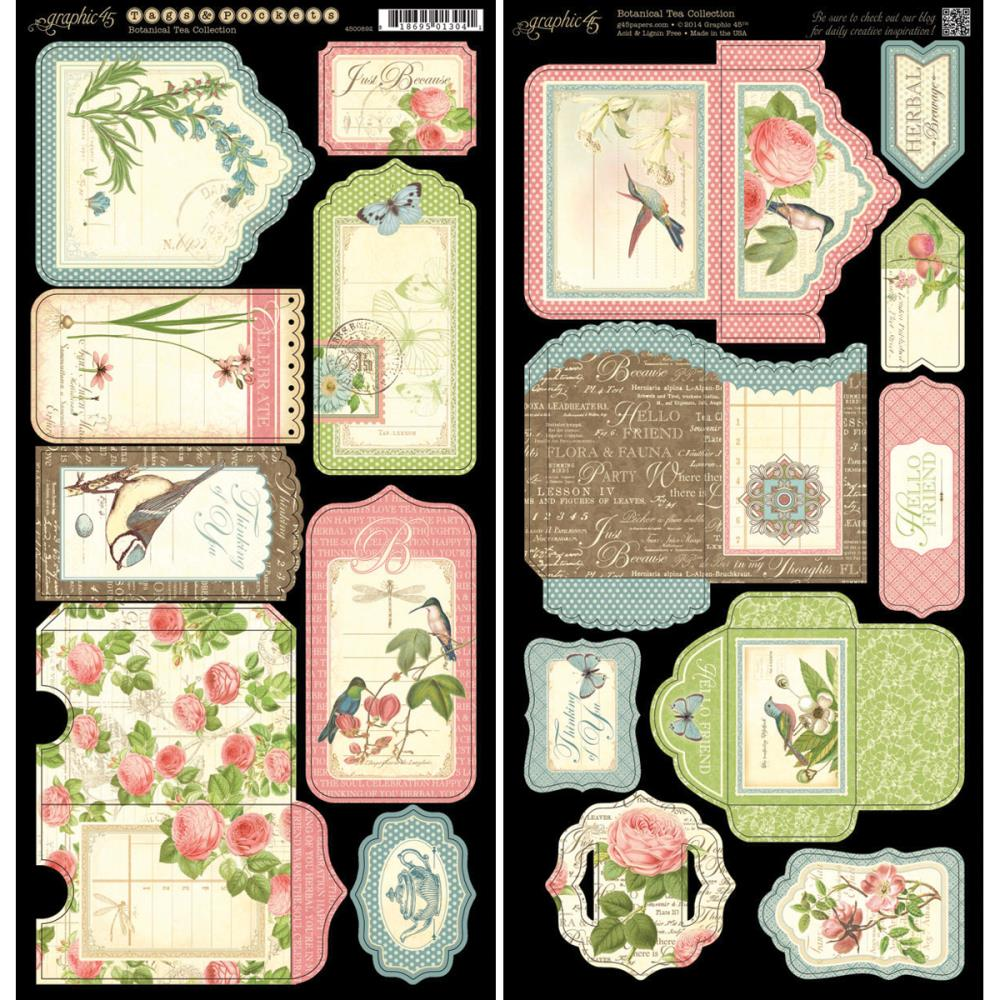 "Graphic 45 Botanical Tea Tags and Pockets 6""X12"""