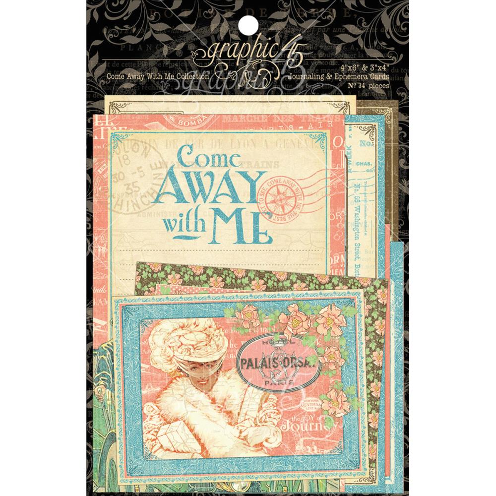"Graphic 45 Come Away With Me 4x6"" and 3x4"" Journaling & Ephemera"