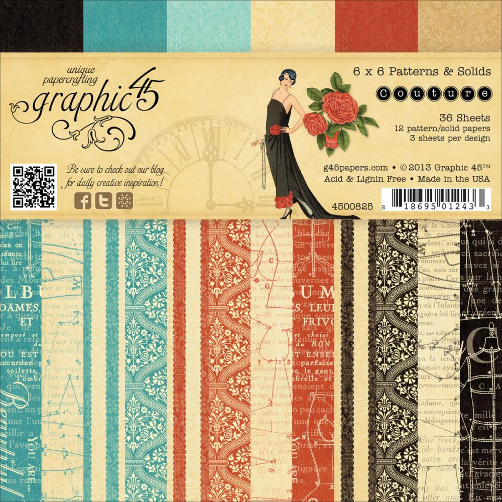 "Graphic 45 Couture Double-Sided Paper Pad 6""X6"""
