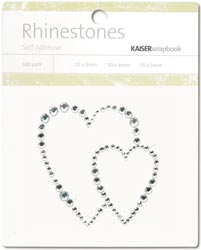 Kaisercraft Self-Adhesive Rhinestones Hearts-Light Silver