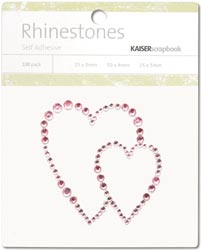 Kaisercraft Self-Adhesive Rhinestones Hearts-Light Pink