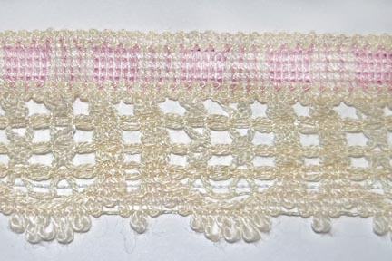 "1 1/2"" Cream and Pink Cotton Lace"