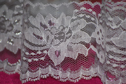 "3"" White Lace with Silver Details"