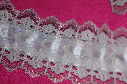 "1 1/2"" White Iridiscent Lace Beaded"