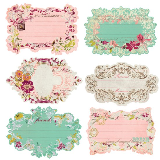 "Prima Flowers Melody Note Cards Journaling Die-Cuts 4""X6"""