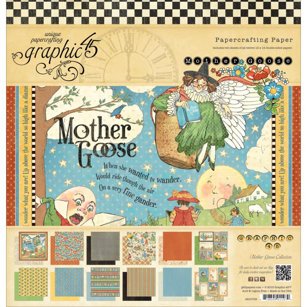 "Graphic 45 Mother Goose Double-Sided Paper Pad 12""X12"""
