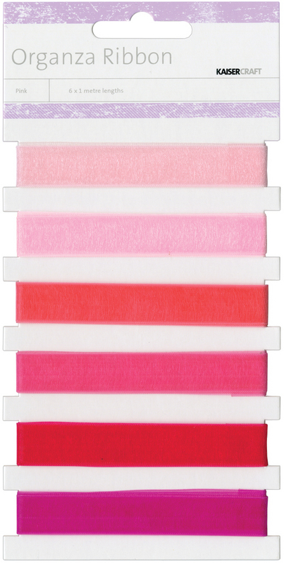 Organza Ribbon 1.09 Yards 6/Pkg Pink