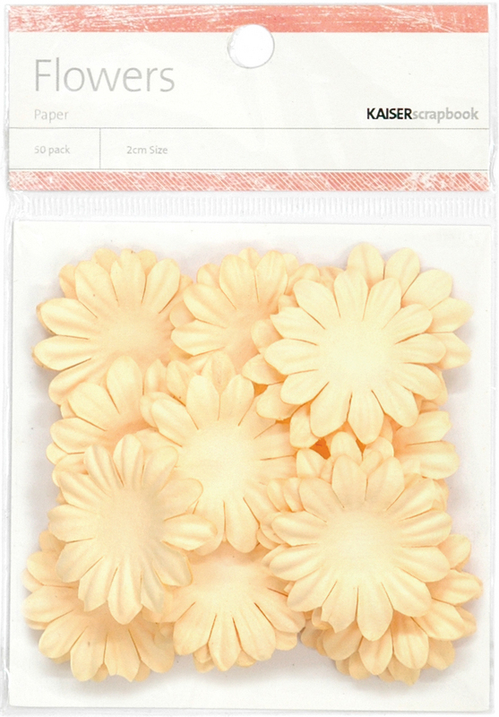 "Paper Flowers 1.38"" (3.5cm) 50/Pkg - CREAM"