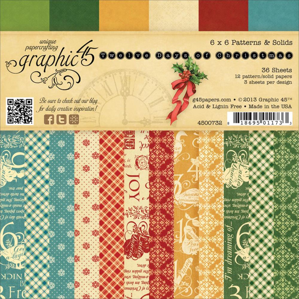 "Graphic 45 12 Days Of Christmas Double-Sided Paper Pad 6""X6"""