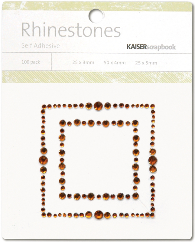 Kaisercraft Self-Adhesive Rhinestones - Square Border-Copper
