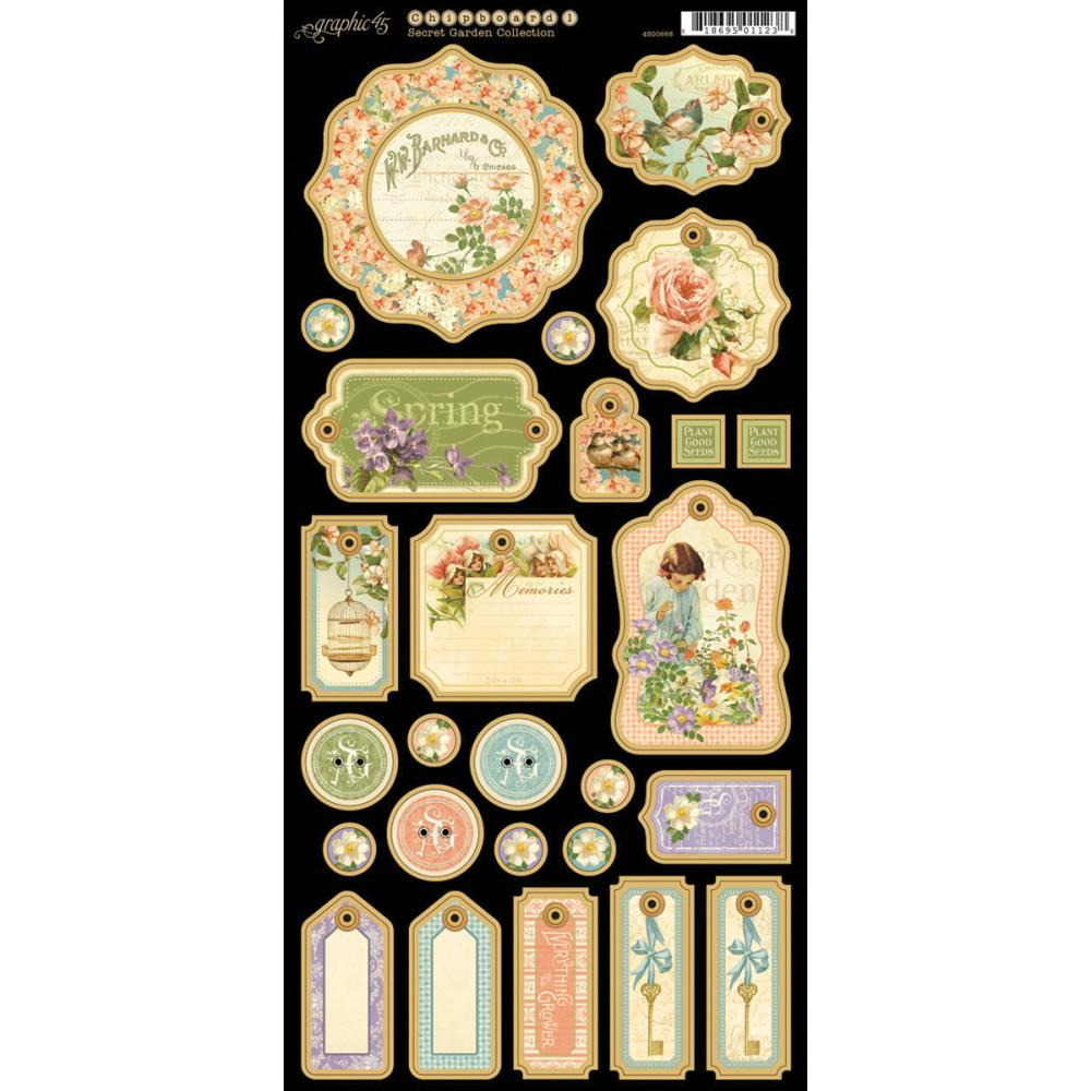 Graphic 45 Secret Garden Chipboard Die-Cuts # 1