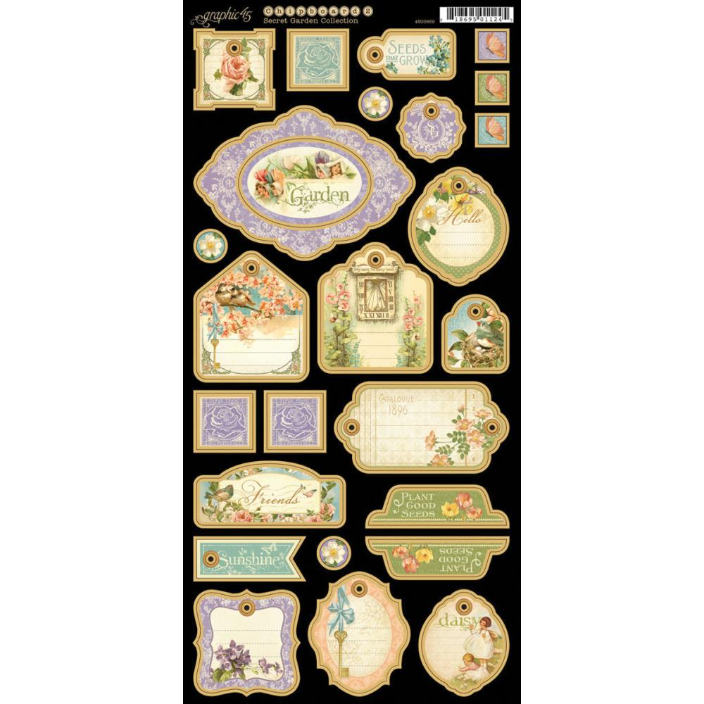 Graphic 45 Secret Garden Chipboard Die-Cuts # 2