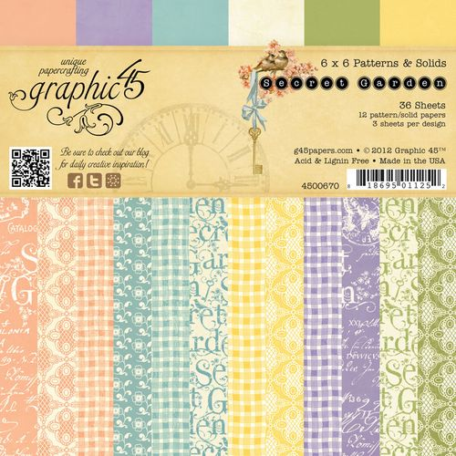 Graphic 45 Secret Garden Patterns and Solids Paper Pad