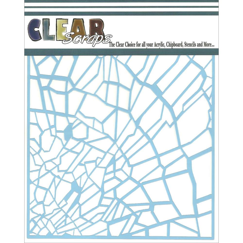 Clear Scraps Stencil, Shattered Glass, 6-Inch x 6-Inch