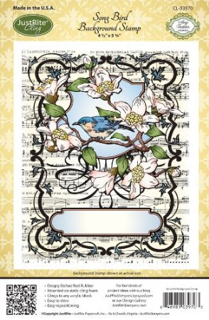 Justrite Stampers Cling Background Stamp: Song Bird