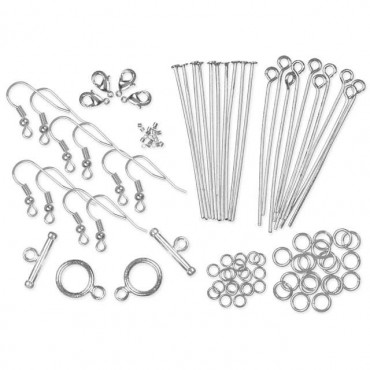 Pearls & Chain Metal Findings Starter Pack 135/Pkg Silver