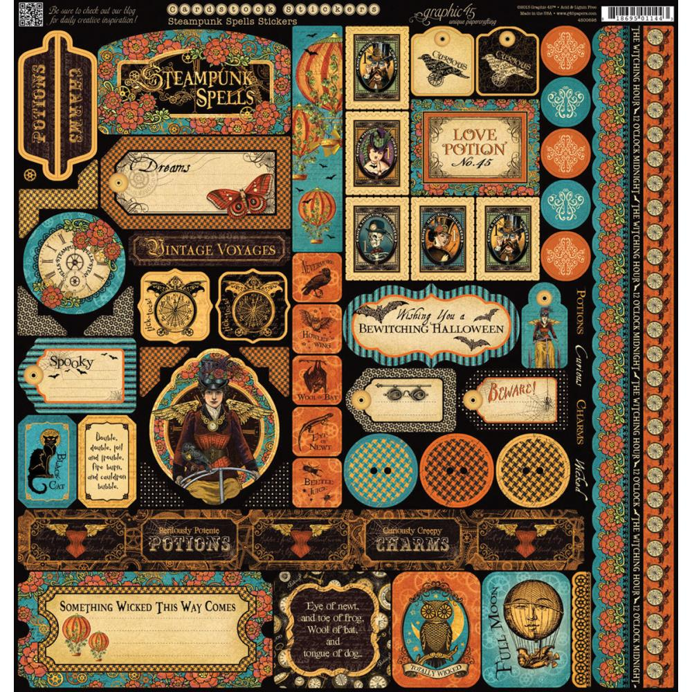 "Graphic 45 Steampunk Spells Cardstock Stickers 12""X12"""