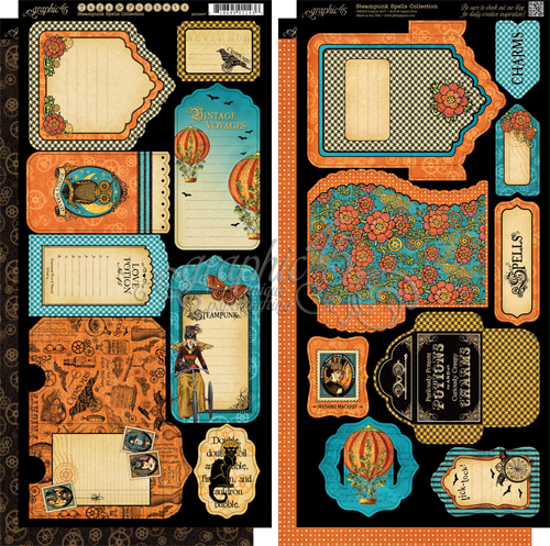 "Graphic 45 Steampunk Spells Cardstock Die-Cuts 6""X12"" Sheets 2/P"