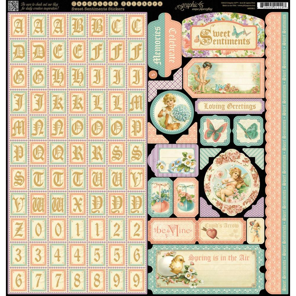 "Graphic 45 Sweet Sentiments Cardstock Stickers 12""X12"""
