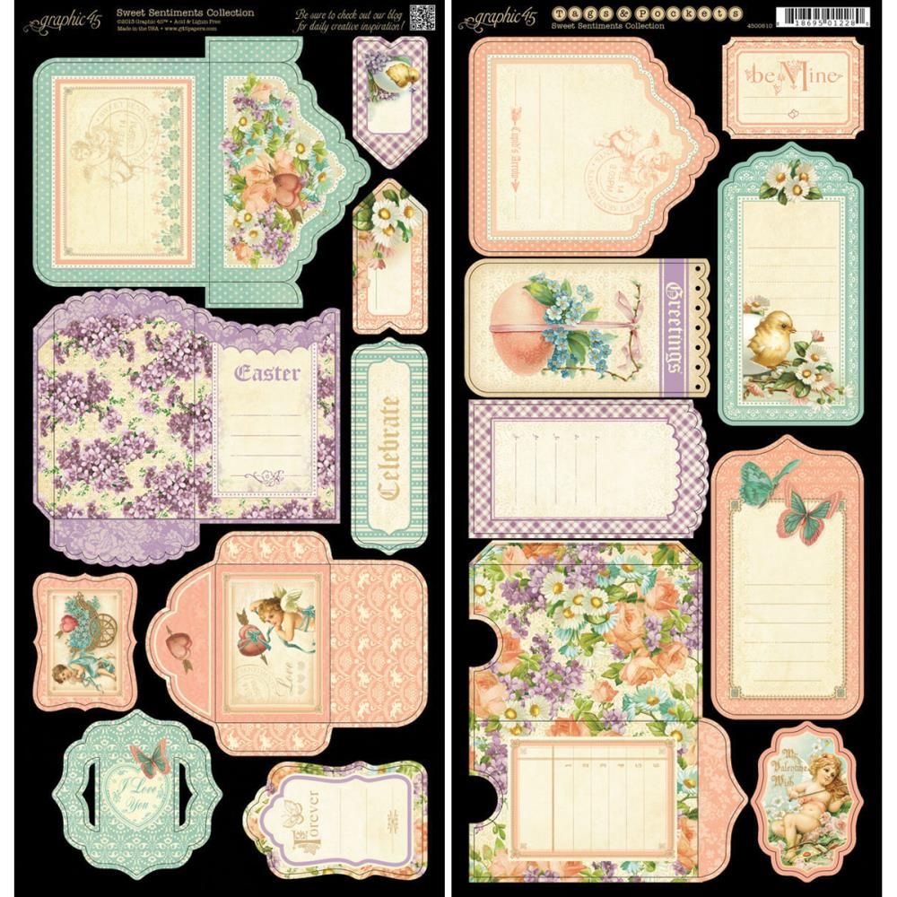Graphic 45 Sweet Sentiments Tags and Pockets 6X12 Sheets 2/Pkg