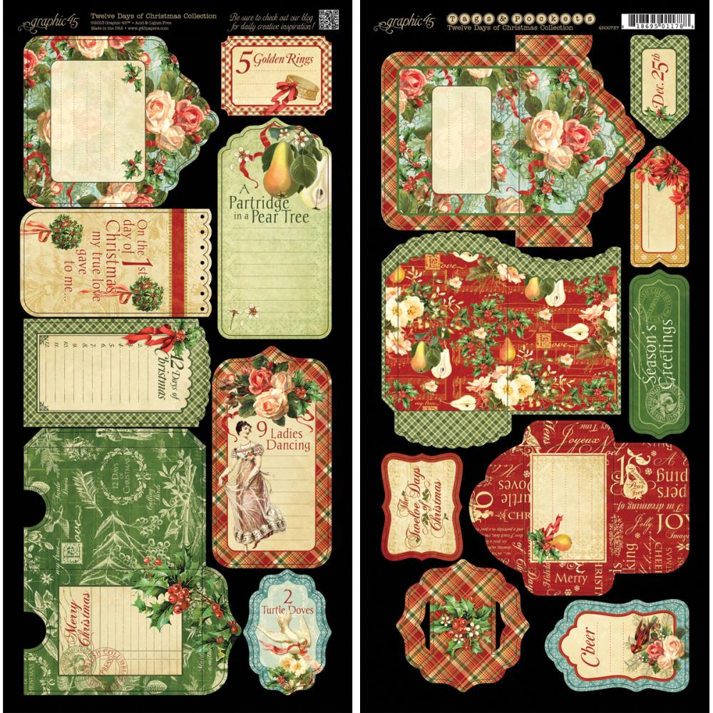"Graphic 45 12 Days Of Christmas Cardstock Die-Cuts 6""X12"" Sheets"