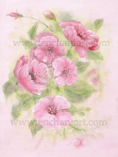 Wild Roses on Pink