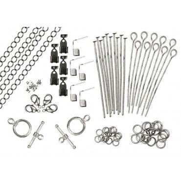 Revolution Assorted Metal Findings 173/Pkg Antique Silver