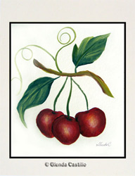 Cheery Cherries Hand-Painted Card