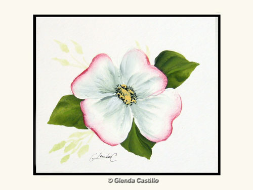 Dainty Dogwood Hand-Painted Card