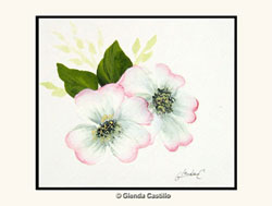 Dogwood Pair Hand-Painted Card