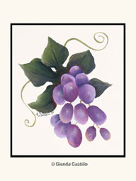 Grapes of the Vine Hand-Painted Card