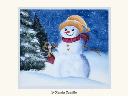 Hearty Snowman Hand-Painted Card