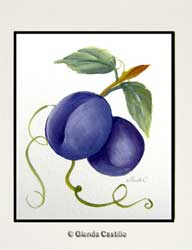 Juicy Plums Hand-Painted Card