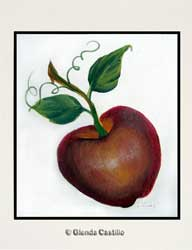 Red Delicious Apple Hand-Painted Card