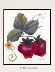 Strawberries Delight Hand-Painted Card