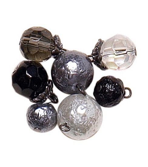 Blue Moon Lost & Found Glass Beads Round Assorted Jet/Smoke/Crys
